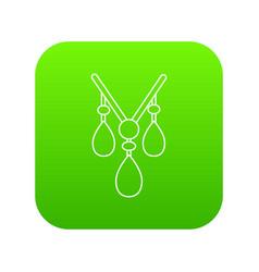Necklace icon green vector