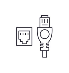 network cable and socket line icon concept vector image
