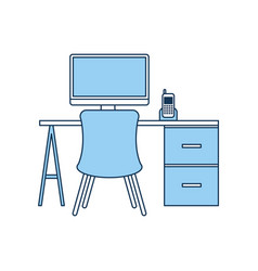 Office workplace escene icon vector