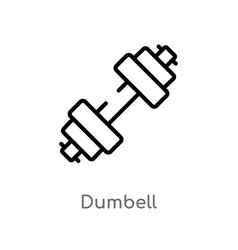Outline dumbell icon isolated black simple line vector