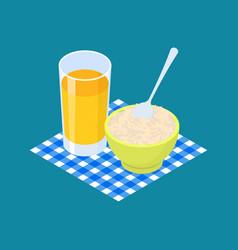 parboiled rice porridge and fruit juice breakfast vector image