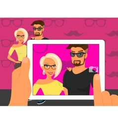 Photographing of happy couple on fuchsia vector image