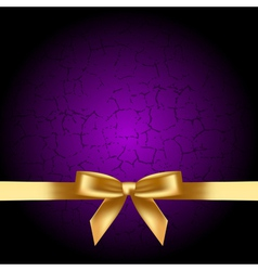 purple background with gold bow vector image