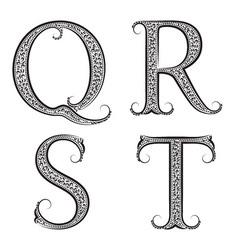 Q R S T vintage patterned letters Font in floral vector image