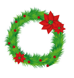 Realistic pine arch with poinsettia christmas vector