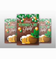 realistic st patricks day party invitation vector image