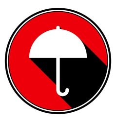 red round with black shadow - white umbrella icon vector image