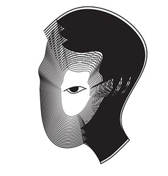 Repeat line of man head with black eye vector