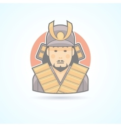 Samurai japanese warrior icon vector