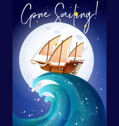 Scene with sailboat in ocean vector