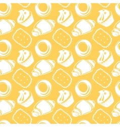 Seamless pattern outline delicious pastries vector image