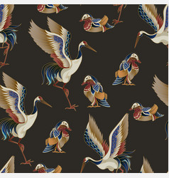 Seamless pattern with mandarin ducks and cranes vector