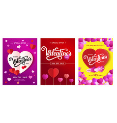 set design poster with lettering happy valentine s vector image