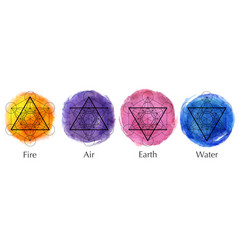 set four elements icons watercolor style vector image
