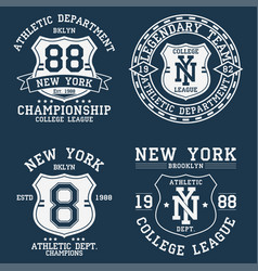 set new york ny vintage graphic for t-shirt vector image