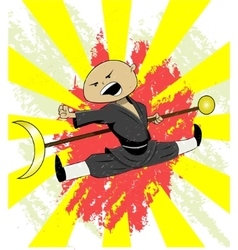 Shaolin monk trains vector