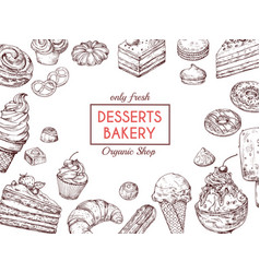 Sketch dessert background sweet cake delicious vector