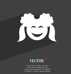 smiling girl symbol Flat modern web design with vector image