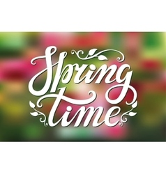 Spring time letteringGreenpink blurred vector