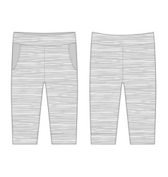 Technical sketch pants in melange fabric trousers vector