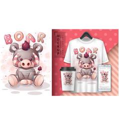 Teddy boar - poster and merchandising vector
