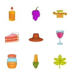 Thanksgiving feast icons set cartoon style vector image