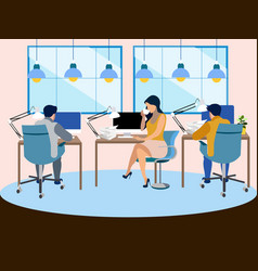 The working environment in office employees vector