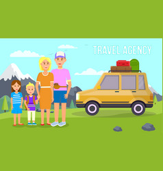 travel agency banner parents travel with kids vector image