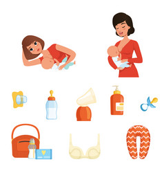 Two young moms and items related to breastfeeding vector