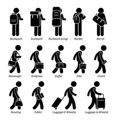 Type man male bags and luggage stick figure vector