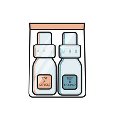 Urine sample collection kit a and b bottles vector