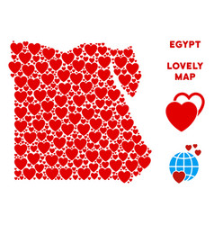 valentine egypt map collage of hearts vector image