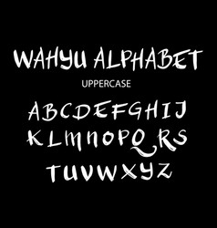 Wahyu uppercase alphabet typography vector