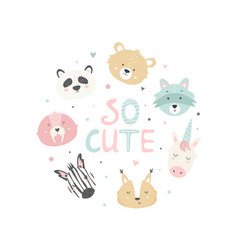 with cute funny animal heads vector image