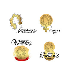 Women day design with golden woman silhouette vector