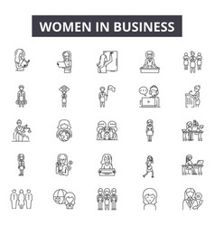 Women in business line icons for web and mobile vector