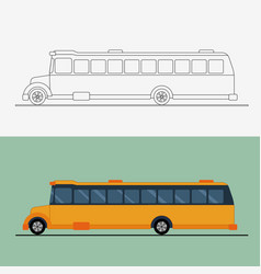 yellow flat school bus bus vector image