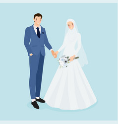 Young muslim wedding couple in blue suit wedding vector