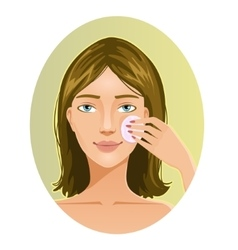 Young woman cleaning her face with sponge eps10 vector image