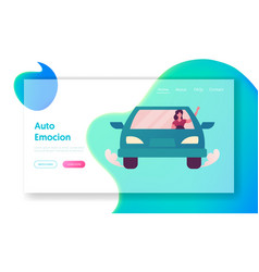 young woman driving car landing page template vector image