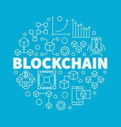 blockchain technology linear vector image vector image