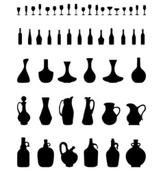 bowls bottles and glasses vector image vector image