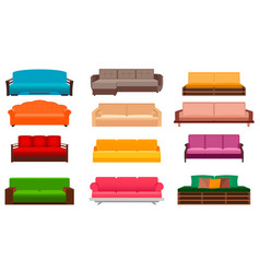 group of nine bright sofas of different kind vector image vector image