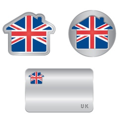 Home icon on the United Kingdom flag vector image vector image