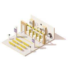 isometric low poly visa application center vector image vector image