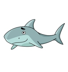 Big smiling swimming shark vector image vector image