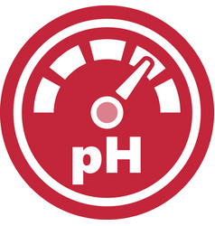 increase of the ph red round icon vector image vector image