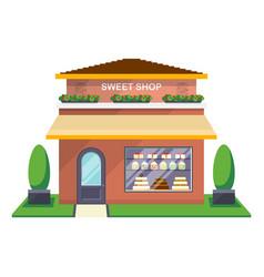Sweet shop facade isolated icon vector