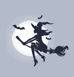 flying young witch vector image