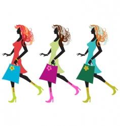 walking young women vector image vector image